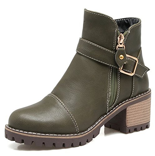 Strap Mid Aisun Round Shoes Zip Heel Olive Boots Buckle Casual With Booties Toe Double Block Up Ankle Womens Zipper Z0qArP0Y