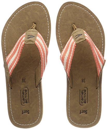 Camel Active Surf 60, Tongs Femme Rose (Desert/Corall/Off-white)
