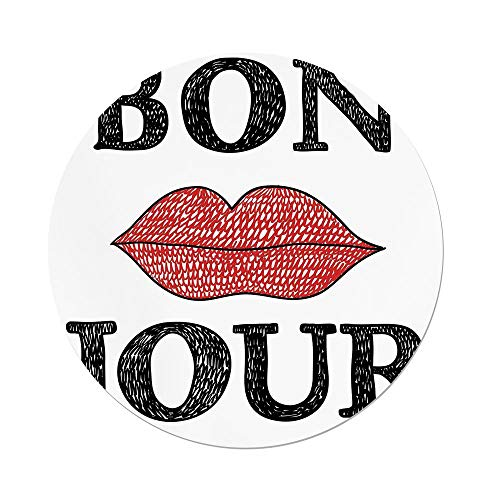 iPrint Polyester Round Tablecloth,Lifestyle Decor,Hand Drawn Vintage Bon Jour Quote Female Lips French Good Day Image,Black Red,Dining Room Kitchen Picnic Table Cloth Cover Outdoor Indoor by iPrint