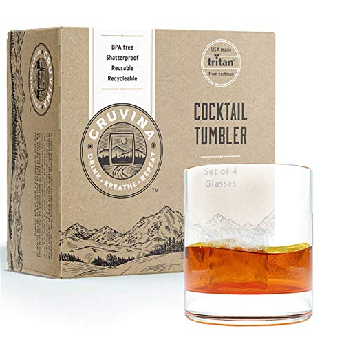 Unbreakable Cocktail Drinking Glasses: Shatterproof Tritan Plastic Glasses, Ideal for Whiskey or Scotch, Dishwasher Safe Tumblers, BPA-free, 14 Ounce Cup, Set of 4