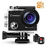 Crosstour Action Camera 4K Ultra HD Wi-Fi Underwater Remote Control 30m Waterproof Camera 170°Wide-angle 2 Inch LCD Plus 2 Rechargeable 1050mAh Batteries and 18 Mounting Accessories
