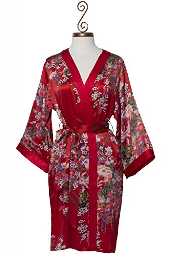 Dynasty Robes, Women's Printed Short Red Robe with Kimono Collar-Imperial's (Luxury Dynasty Silk)