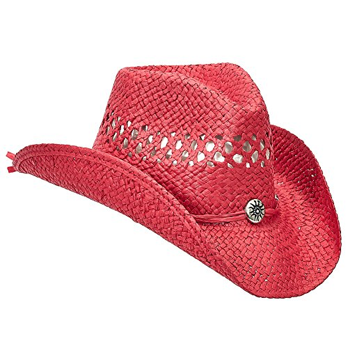 Shapeable Straw Country Cowboy Hat (Red) (Red Straw Cowboy Hat)