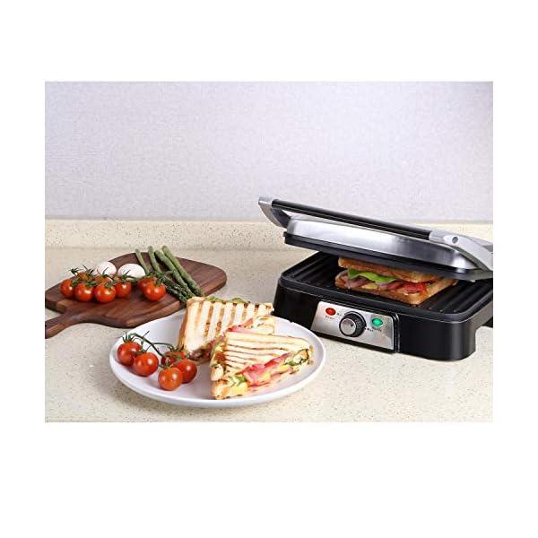 Aigostar Hitte 30HFA - Panini Maker/Griglia, Pressa a sandwich, Griglia elettrica, 1500 Watt, Fredda al tocco… 2