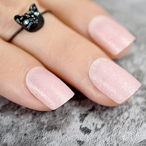 CoolNail Baby Pink Short False Nails Tips Light Pink with Shimmer Glitter Full Cover Artificial Fake Nail for Home Office faux ongles -
