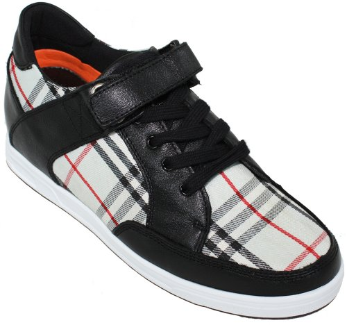 CALDEN Black Plaid Taller Women Height K90961 canvans 4 Shoes Increasing Inches 2 leather 8qS4rzxw8