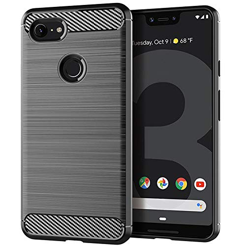 Moment Dextrad Google Pixel 3 XL Case,Anti-Fingerprint Protective Bumper Soft TPU Cover with Shock-Absorption and Carbon Fiber Design Pixel 3 XL Case + Stylus (Gray)