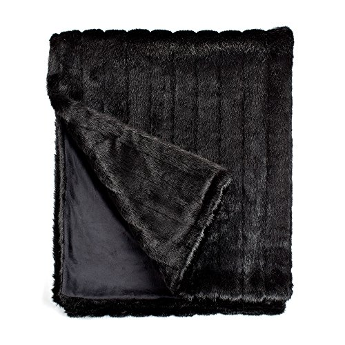 Fabulous Furs: Faux Fur Luxury Throw Blanket, Black Mink, Available in generous sizes 60''x60'', 60''x72'' and 60''x86'', by Donna Salyers by Donna Salyers' Fabulous-Furs