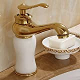 AWXJX Sink Taps European style copper Hot and cold Wash your facePots bathroom Golden ceramics Seated jade Single hole