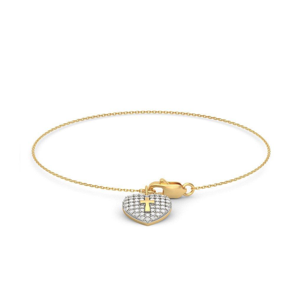 0.306 cttw Round-Cut-Diamond 18K Yellow Gold IJ| SI 6 inches identification-bracelets Size