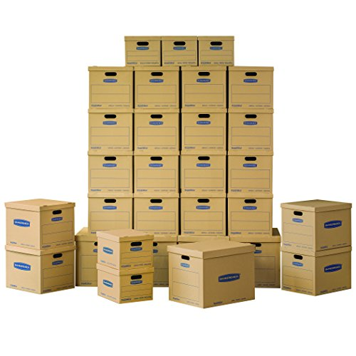 Classic Box File (Bankers Box SmoothMove Classic Moving Boxes Value Kit, 5 Small/20 Medium/5 Large Boxes, 30-Pack, No Tape Required (7716502))