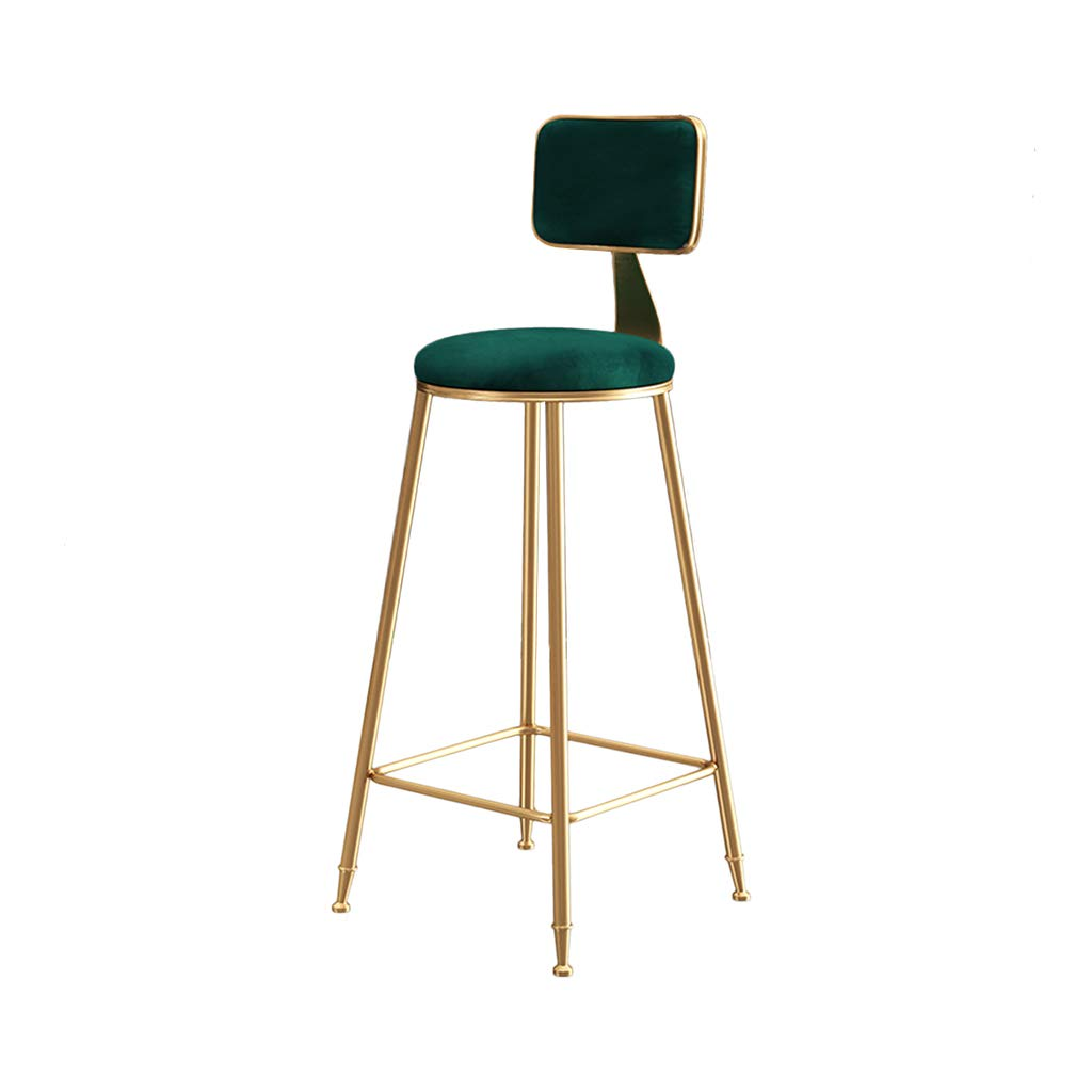 Green Nordic Bar Chair, Household Restaurant Lounge Chair Armchair Decoration Dining Chair Coffee Shop Tea Shop gold Iron Art High Stool Furniture,Green