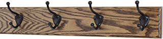 """product image for PegandRail Oak Coat Rack with Oil Rubbed Bronze Hat & Coat Style Hooks (Walnut, 20"""" x 3.5"""" with 4 Hooks)"""