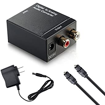 CFStore@ Digital Optical Coax to Analog RCA Audio Converter Adapter with Fiber Cable (FY