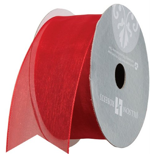 Jillson Roberts 1-1/2 Inch Sheer Ribbon Available in 16 Colors, Red, 6 Spool-Count (FR3209)