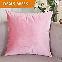 Home Brilliant Velvet Deluxe Square Decorative Throw Pillow Cover for Teen Girl's Room, 18x18, Blush Pink