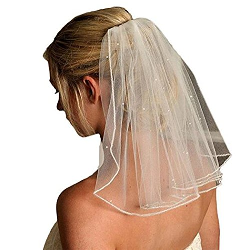 VEPYCLY Women 1 Tier Short Wedding Veils Tulle Beads Bridal Veils with Comb (Short Veil)