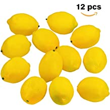 "Supla 12 Pcs Artificial Lemon in Yellow 3.7"" Long x 2.56"" Wide Fake Lemon Foam lemon Fruit Decor Kitchen Table Decor"
