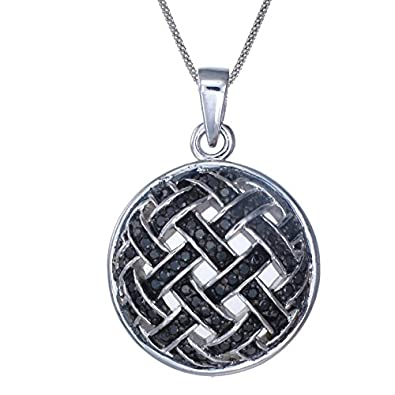 Sterling Silver Black Diamond Pendant 1 2 CT With 18 Inch Chain