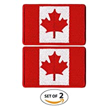 Canada Flag Morale Embroidered Patch Tactical Maple Leaf Iron On and Sew On Patches Canadian Emblem for Travel Backpack, Hats, Jackets, Team Uniform and many more (Embroidered Red)
