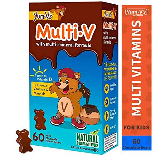 Yum-V MultiVitamins Chewables for Kids, Milk Chocolate (60 Ct); Daily Dietary Supplement w/Essential Vitamins & Minerals – Vitamin D, B12, B6, E, C, A, K, Zinc, Magnesium, Kosher, Halal, Gluten Free