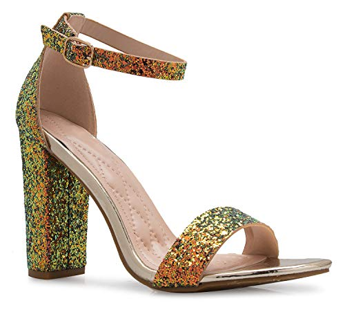 Heel High Colored - OLIVIA K Women's Strappy Chunky Block High Heel - Formal, Wedding, Party ? Simple Classic Pump