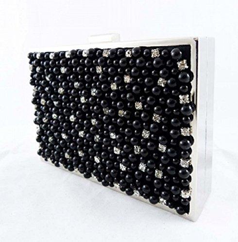 Perlas exclusivo Negro de LOOKAT retro gala Bolso Cannes Fiesta de Carteras elegante Mano CPBqwfgp