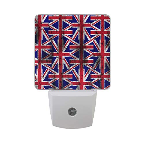 (2 Pack Plug-in LED Night Light Distressed UK British Flag Lamp with Dusk to Dawn Sensor for Hallway)