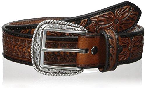 Arrow Leather Belt (Ariat Men's Arrow Tooled Floral Billet, Black/Brown,)
