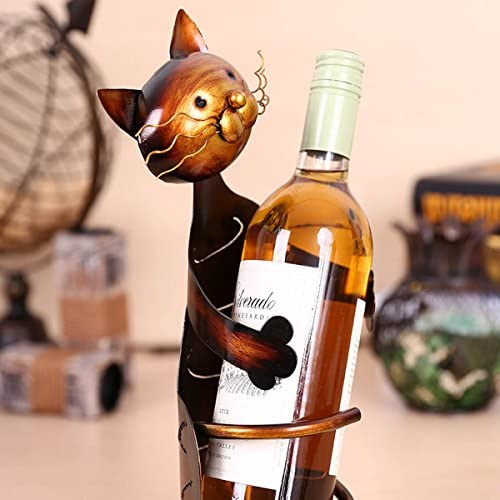 Cat Shaped Wine Holder, Metal Wine Shelf, Animal Shaped Sculpture, Home Decorations Interior Decor Gifts for Christmas