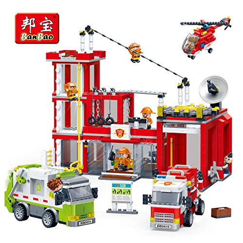 Fire - Fire Station Fighting Truck Helicopter Bricks Educational Building Blocks Toy Model 7120 Children Kids Friend Gift - by Orchilld - 1 PCs (Lego Star Wars Lego City Fire Station)