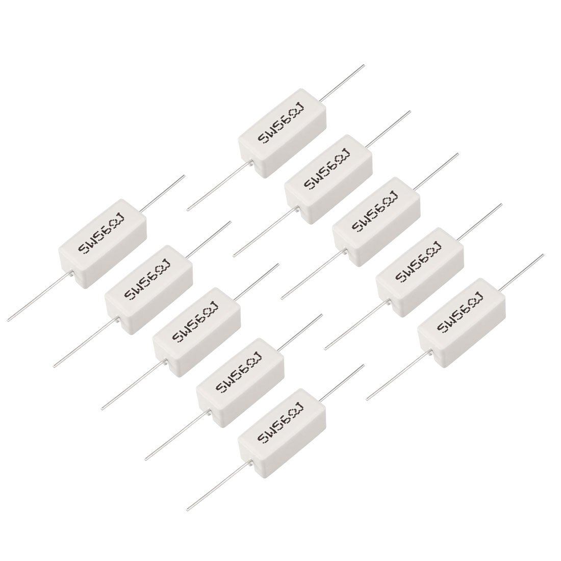 sourcing map 2 x 20W 2 Ohm 5/% Wire Wound Cement Resistors 2R 20 Watt