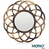 "MONOINSIDE® Small Round Framed Wall Mount Glass Mirror, Retro Design, Distressed Gold Colored Plastic Circular Frame, 10.25"" in Diameter"