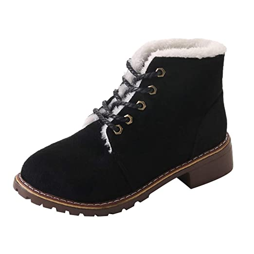 Hunzed Women Shoes Lace Flat Bottom Plus Cotton Warm Fashion Student Casual  Girl s Boots (Black b38157536b