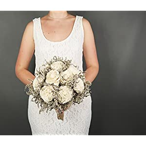 Large Ivory Rustic Sola Flowers Wedding Bouquet 104
