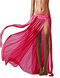 DEPERO Women's Sexy Stretch Sarong Perspective Split Gauze Boho Maxi Beach Skirt