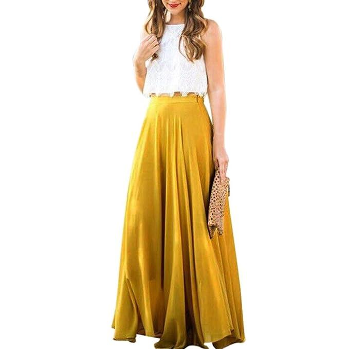 Siswong Faldas Gasa Largas Maxi Elegantes de Mujer Plisadas Swing para Fiesta Verano 2018 (L