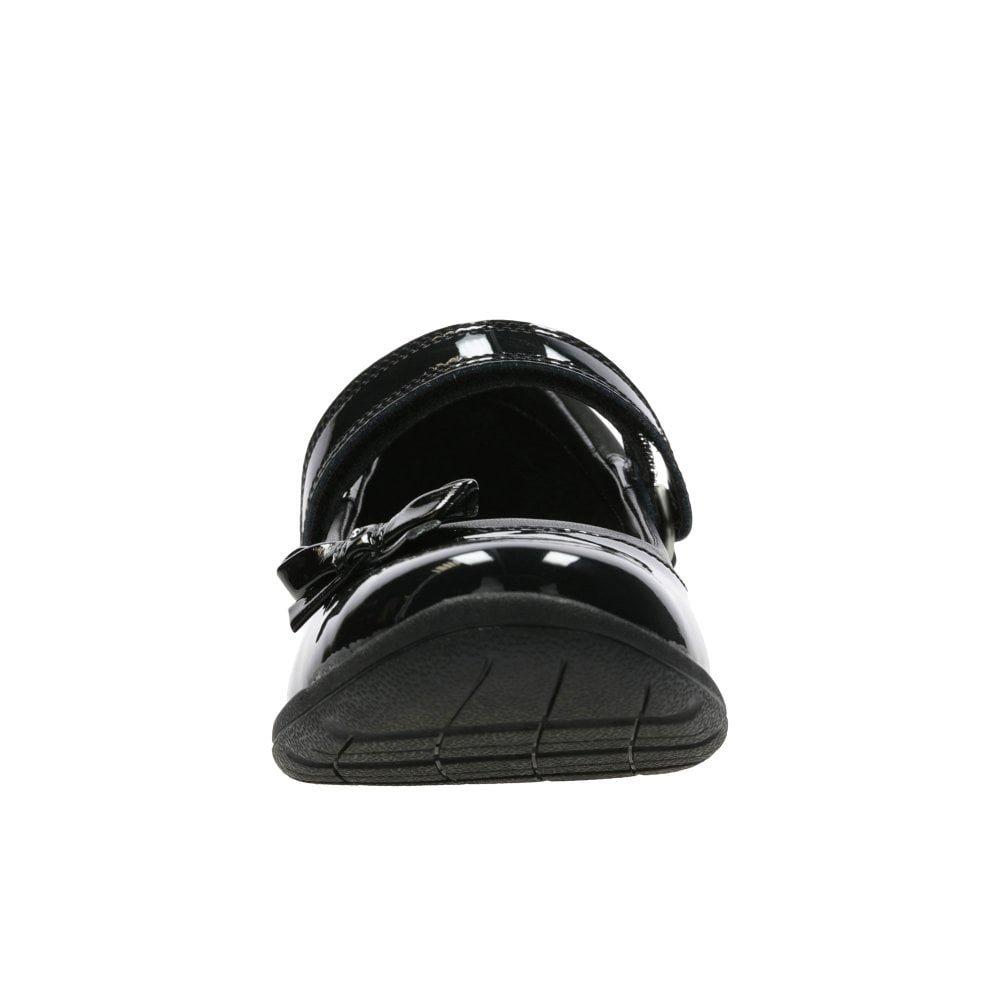 Clarks Venture Star Girls Junior Leather Mary Jane School Shoes 1 E UK Black Patent