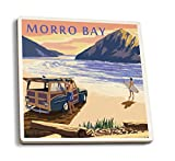 Morro Bay, California - Woody on Beach (Set of 4 Ceramic Coasters - Cork-backed, Absorbent)