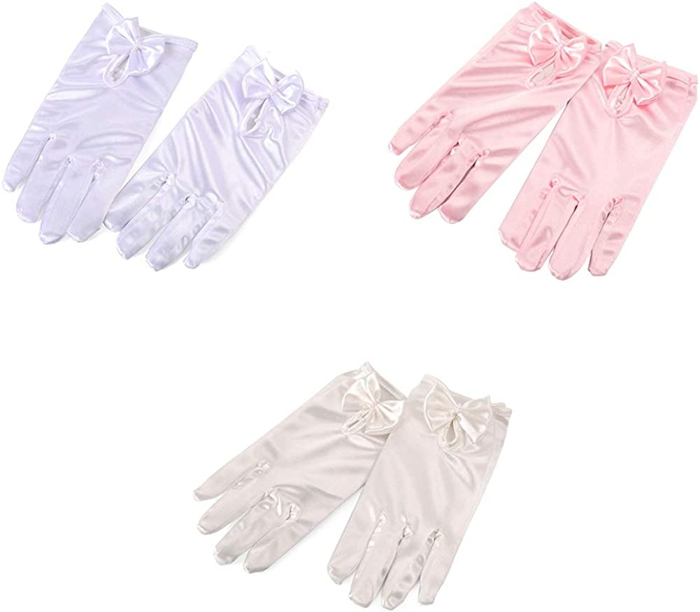 kids Special Occasion Gloves Anpay Gorgeous Satin Fancy Gloves For Special Occasion Wedding Party Girls  Kids Finger White Pearl Bow Gloves Clothing, Shoes & Jewelry Girls