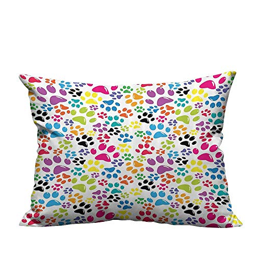 YouXianHome Lovely Cushion Covers Little Paws Cute Steps Childish Artwork Carto Unusual Traces Resists Stains(Double-Sided Printing) 19.5x26 inch