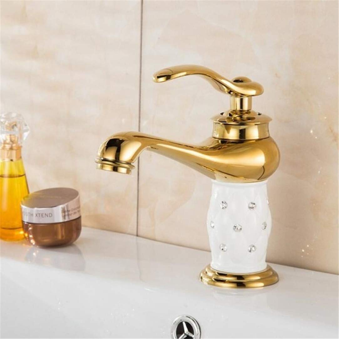 Faucet Washbasin Mixer High Quality gold Finish with White Painting Bathroom Sink Faucet Creative Design Single Lever Basin Faucet with Ceramic Body