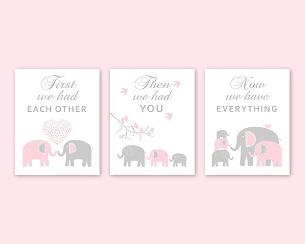 Elephant Nursery Wall Decor   CANVAS Animal Wall Art Pink And Grey Nursery  Decor For Baby