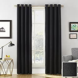 "Sun Zero Baxter Theater Grade Extreme 100% Blackout Curtain Panel,Black,52"" x 63"""