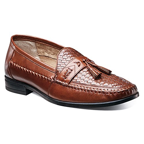 Nunn Bush Mens Strafford Geweven Slip-on Loafer Cognac Leer