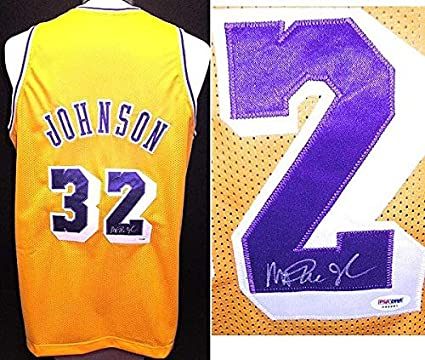 94fcbdb7e7f Magic Johnson Autographed Signed Los Angeles Lakers Custom Jersey with PSA/ DNA Authenticity at Amazon's Sports Collectibles Store