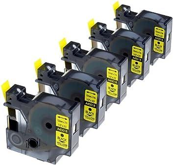 5 Casetes de Cinta compatibles con Dymo D1 45018 S0720580 Negro sobre Amarillo 12mm x 7m