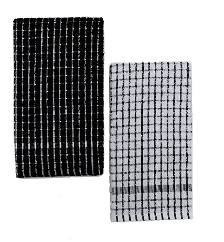 Kuk's Cuisine Kitchen Towels - Ultra Absorbent - 100% Cotton - Size: Jumbo (25.5 in x 17.7 in) - AKA European Tea Towels, Dish Cloths, Dish Towels - Checkered Pattern - Set of Two (Black & White) (Kitchen Checkered)