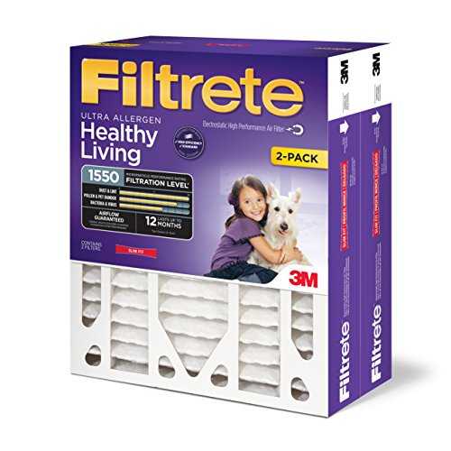 Price comparison product image Filtrete MPR 1550 20 x 25 x 4 (3-3/4 Actual Depth) Healthy Living Ultra Allergen Deep Pleat AC Furnace Air Filter, Attracts Microscopic Particles like Bacteria & Viruses, 2-Pack