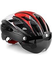 Fietshelm met veiligheidslicht en vizier, KINGLEAD CE-gecertificeerd Unisex Beschermde fietshelm voor fietsen Buiten Sportveiligheid Superlicht Verstelbare fietshelm